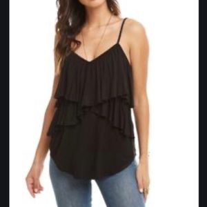 Chaser Crossover Ruffle Cami Tank Top Blouse Black